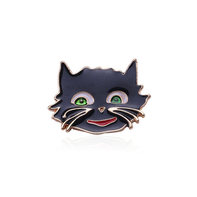 Simple and Cute Plated Gold Black Cat Brooch