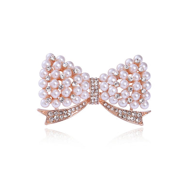 Fashion and Elegant Plated Gold Ribbon Imitation Pearl Brooch with Cubic Zirconia
