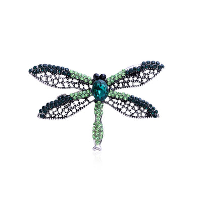 Fashion Bright Dragonfly Brooch with Green Cubic Zirconia