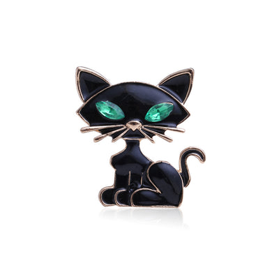 Simple and Cute Black Cat Brooch with Green Cubic Zirconia