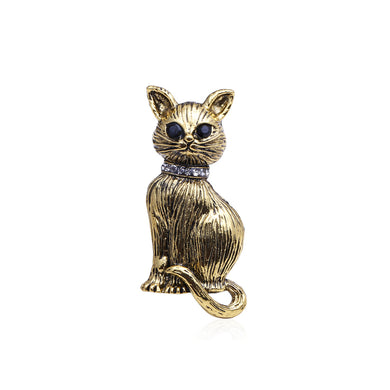 Simple and Cute Plated Gold Cat Brooch with Cubic Zirconia