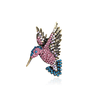 Fashion Bright Hummingbird Brooch with Pink Cubic Zirconia