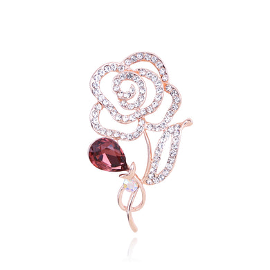 Simple and Fashion Plated Rose Gold Hollow Flower Brooch with Brown Cubic Zirconia