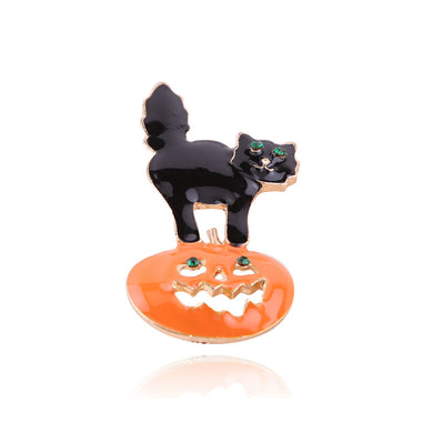 Fashion Creative Halloween Pumpkin Cat Brooch with Cubic Zirconia