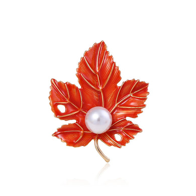 Fashion Simple Plated Gold Maple Leaf Imitation Pearl Brooch