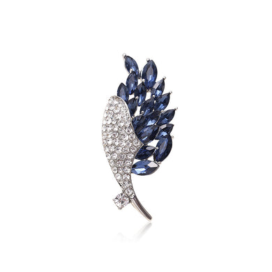 Elegant Bright Floral Brooch with Blue Cubic Zirconia