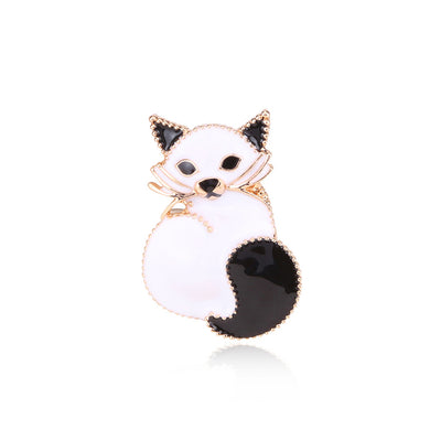 Simple and Cute Plated  Gold White Cat Brooch