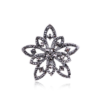 Fashion and Elegant Hollow Flower Brooch with Black Cubic Zirconia