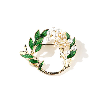 Fashion and Elegant Plated Gold Enamel Gardenia Imitation Pearl Brooch
