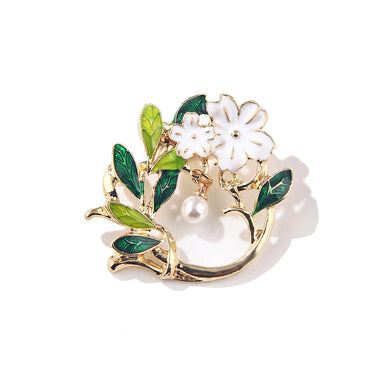 Fashion and Elegant Enamel Flower Green Leaf Geometric Imitation Pearl Brooch