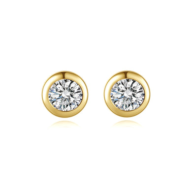 925 Sterling Silver Plated Gold Simple and Delicate Geometric Round Stud Earrings with Cubic Zirconia