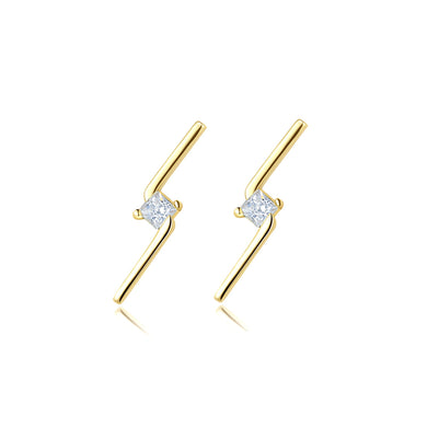 925 Sterling Silver Plated Gold Simple and Delicate Lightning Stud Earrings with Cubic Zirconia
