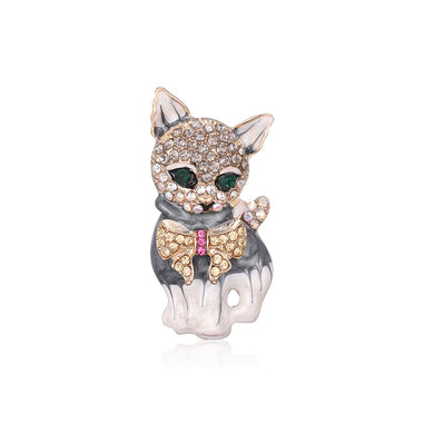 Fashion and Cute Plated Gold Cat Brooch with Cubic Zirconia
