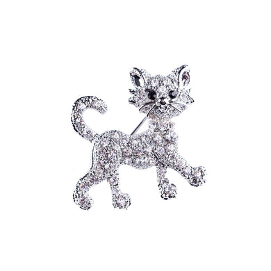 Simple and Cute Cat Brooch with Cubic Zirconia