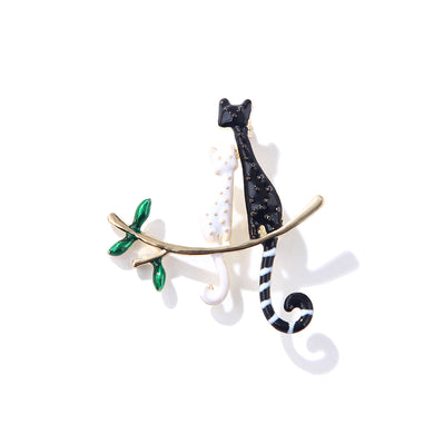 Fashion and Cute Plated Gold Black and White Double Cat Brooch