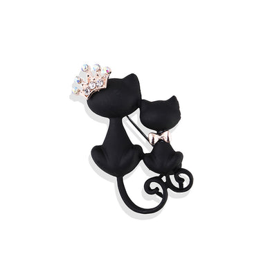 Simple and Cute Black Double Cat Crown Brooch with Cubic Zirconia