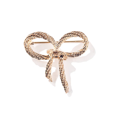 Simple and Fashion Plated Gold Ribbon Brooch