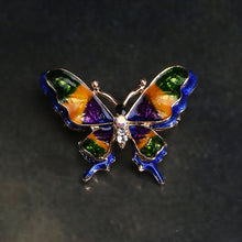 Load image into Gallery viewer, Fashion and Elegant Plated Gold Enamel Blue Butterfly Brooch with Cubic Zirconia