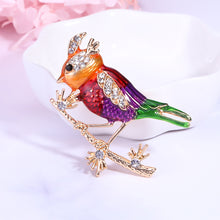 Load image into Gallery viewer, Fashion and Lovely Plated Gold Enamel Red Bird Brooch with Cubic Zirconia