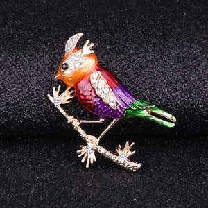 Fashion and Lovely Plated Gold Enamel Red Bird Brooch with Cubic Zirconia