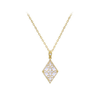 925 Sterling Silver Plated Gold Fashion Vintage Pattern White Enamel Geometric Diamond Pendant with Cubic Zirconia and Necklace