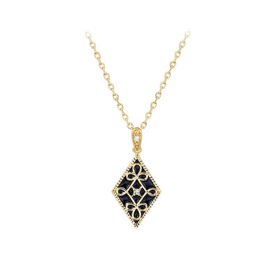 925 Sterling Silver Plated Gold Fashion Vintage Pattern Black Enamel Geometric Diamond Pendant with Cubic Zirconia and Necklace