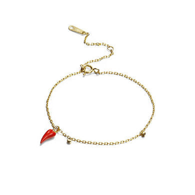 925 Sterling Silver Plated Gold Simple Creative Enamel Chili Bracelet