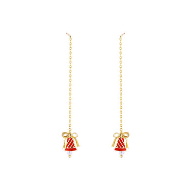 925 Sterling Silver Plated Gold Simple Cute Enamel Red Bell Tassel Earrings with Cubic Zirconia