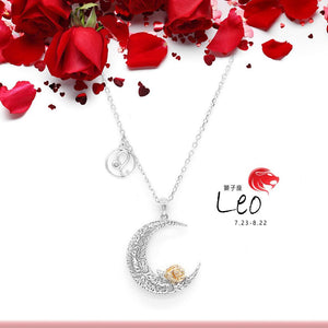 925 Sterling Silver Love on the Moon Pendant with Leo horoscope (23 Jul - 22 Aug)