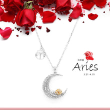 Load image into Gallery viewer, 925 Sterling Silver Love on the Moon Pendant with Aries horoscope (21 Mar-19 Apr)