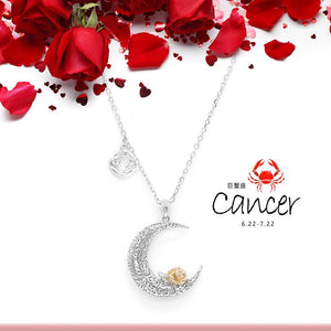 925 Sterling Silver Love on the Moon Pendant with Cancer horoscope (22 Jun - 22 Jul)