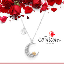 Load image into Gallery viewer, 925 Sterling Silver Love on the Moon Pendant with Capricorn horoscope (22 Dec-19 Jan)