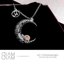 Load image into Gallery viewer, 925 Sterling Silver Love on the Moon Pendant with Leo horoscope (23 Jul - 22 Aug)