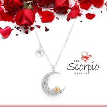 Load image into Gallery viewer, 925 Sterling Silver Love on the Moon Pendant with Scorpio horoscope (24 Oct - 21 Nov)