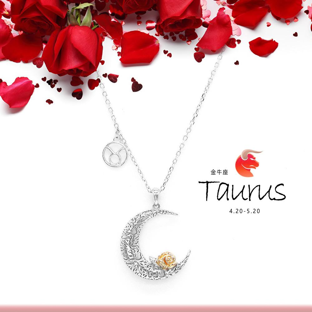 925 Sterling Silver Love on the Moon Pendant with Taurus horoscope (20 Apr - 20 May)
