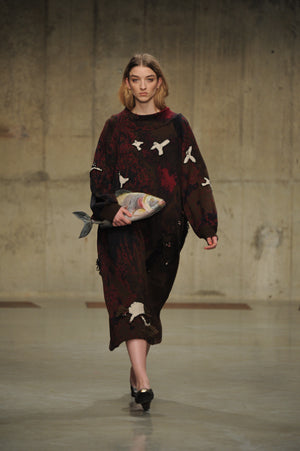 Claire Barrow Autumn/Winter 2013 Look 1 Hand and machine knit wool dress and hand painted leather fish clutch bag
