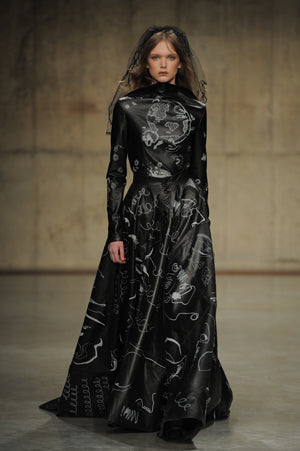 Claire Barrow Autumn/Winter 2013 Look 13 Full leather hand painted bridal gown with trail
