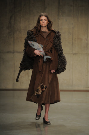 Claire Barrow Autumn/Winter 2013 Look 2 brown corduroy jacket and skirt with embroidery and hand painted leather fish clutch bag