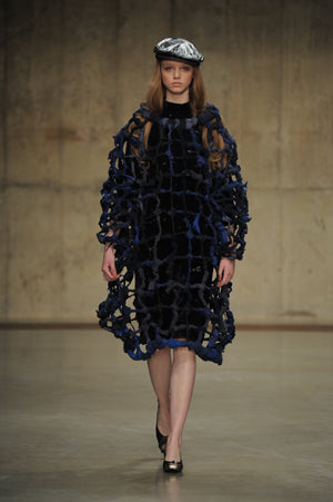 Claire Barrow Autumn/Winter 2013 Look 7 Blue recycled fabric woven cage dress and hand painted leather flat cap