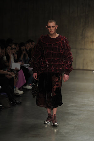 Claire Barrow Autumn/Winter 2013 Look 8 Red recycled fabric woven cage top and velvet devore trousers