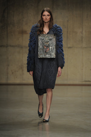 Claire Barrow Autumn/Winter 2013 Look 9 Hand knitted jumper dress and leather hand painted neck plaque