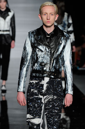 Claire Barrow graduate collection Look 2 Hand painted leather biker jacket and printed cotton trousers