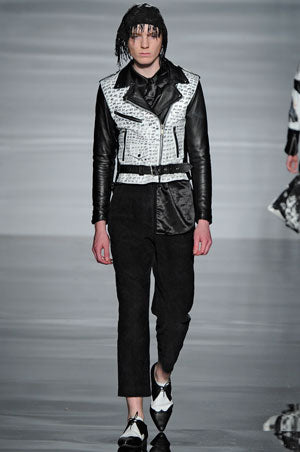 Claire Barrow graduate collection Look 3 Hand painted leather biker jacket, silk skirt and cotton trousers, beaded headpiece