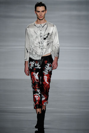 Claire Barrow graduate collection look 4 hand painted silk shirt and hand painted leather trousers