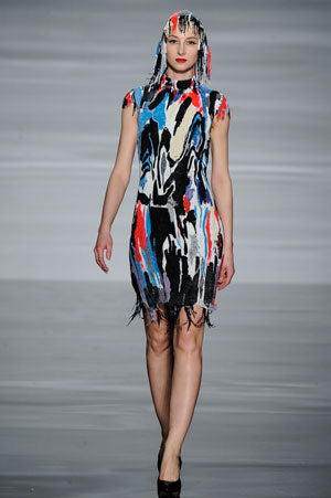 Claire Barrow graduate collection look 6 hand beaded paint dripping dress and cap