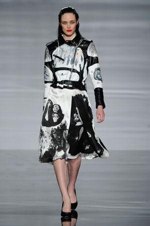 Claire Barrow graduate collection look 1 Hand painted leather biker jacket and silk screen printed skirt