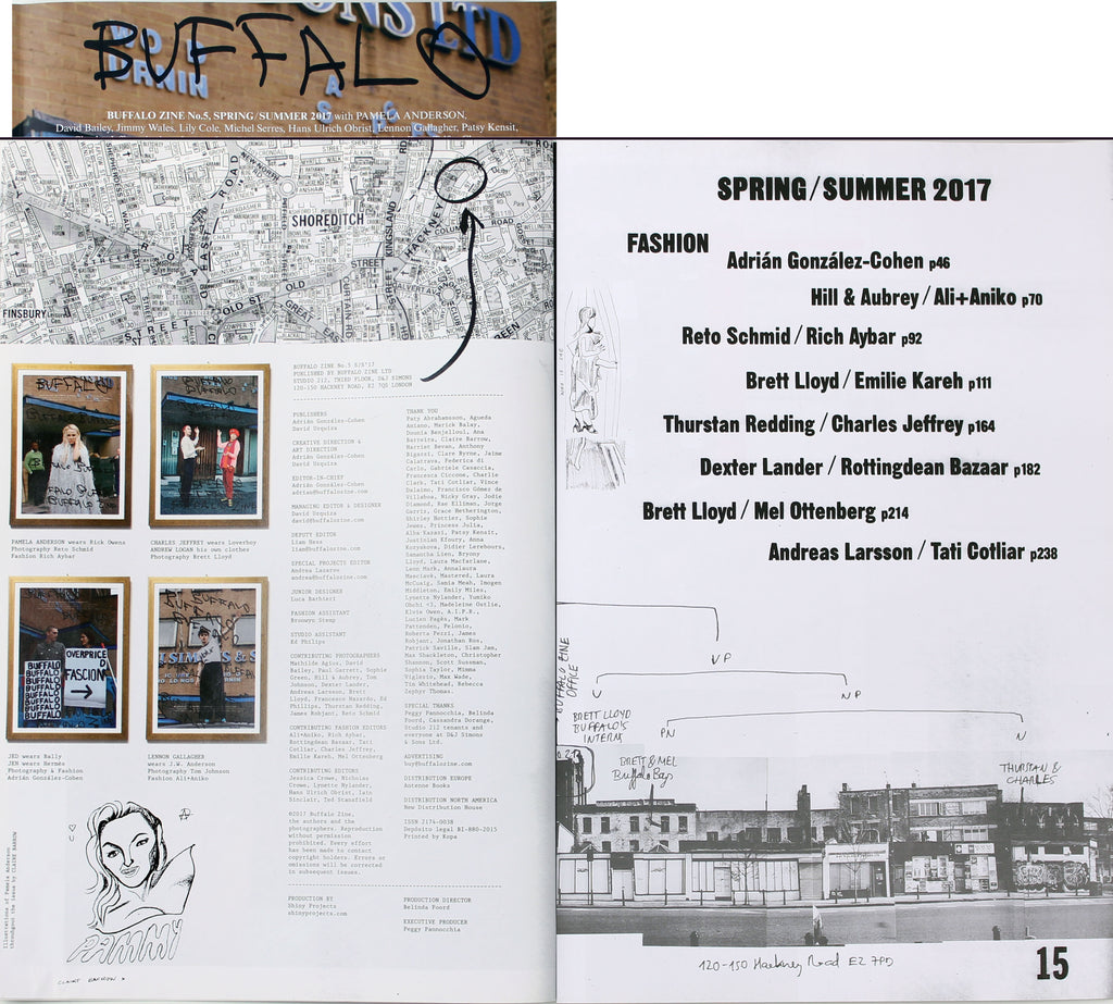 Buffalo Zine No. 5, S/S 2107, Pamela Anderson Illustrations feature throughout