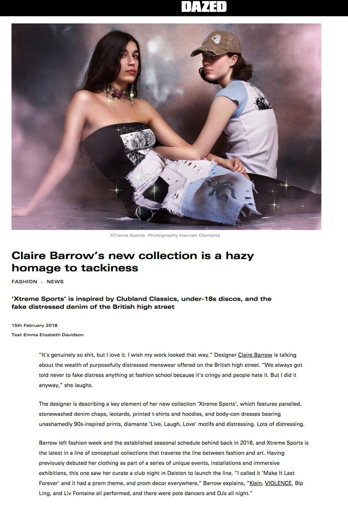 Claire Barrow's new collection is a hazy homage to tackiness, Dazed, 2018