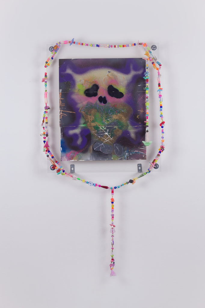 'Untitled 10', 2019- 2020, acrylic and spray paint on metallic card with found plastic bead necklace frame