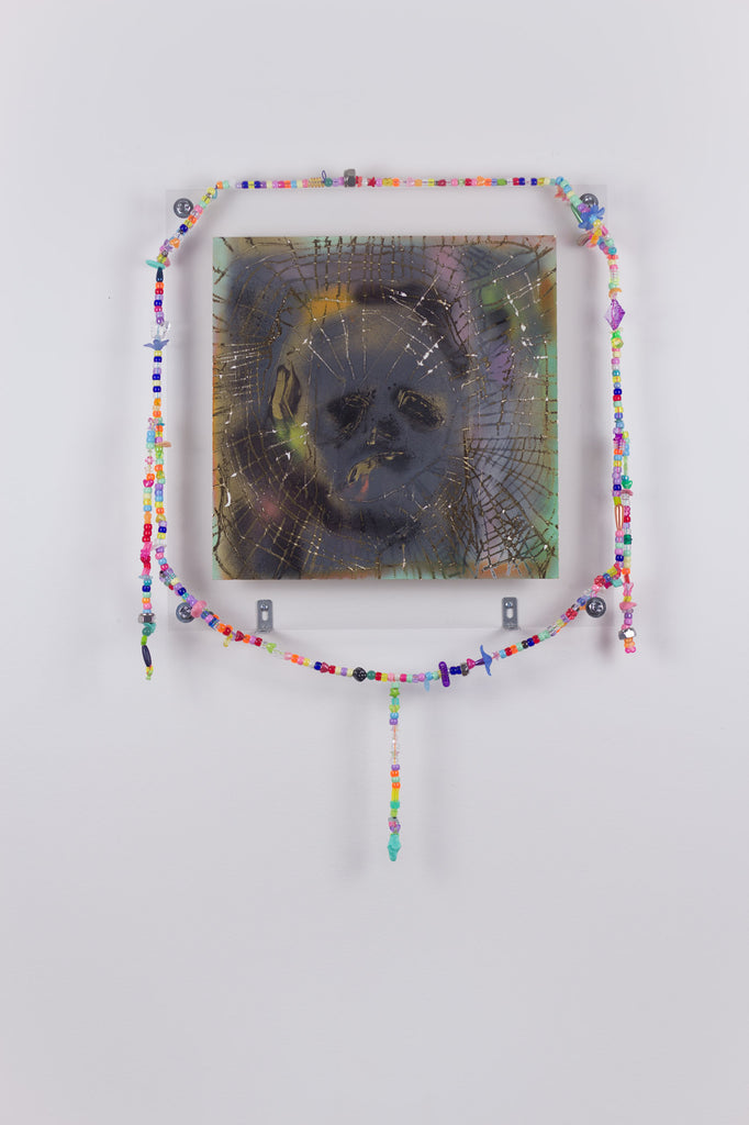 'Untitled 6', 2020, acrylic and spray paint on metallic card with found plastic bead necklace frame